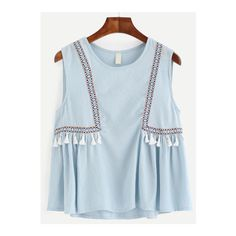 To find out about the Blue Embroidered Tape Detail Tassel Trim Top at SHEIN, part of our latest Tank Tops & Camis ready to shop online today! Girls Fashion Clothes, Fashion Dresses, Kids Fashion, Clothes For Women, Fashion Design, Stylish Dresses For Girls, Dresses Kids Girl, Casual Dresses, Pakistani Fashion Casual