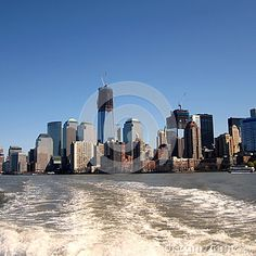 The New York City downtown seen from the river.