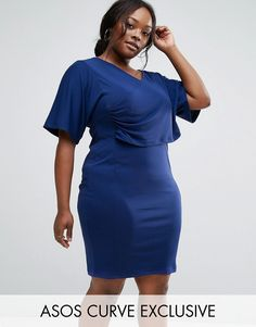 Buy it now. ASOS CURVE Kimono Drape Wiggle Dress In Crepe - Navy. Plus-size dress by ASOS CURVE, Soft-touch jersey, V-neck, Wrap-front design, Slim fit - cut close to the body, Machine wash, 100% Polyester, Our model wears a UK 18/EU 46/US 14 and is 175cm/5'9 tall. ABOUT ASOS CURVE Say goodbye to awkward-fitting plus-size fashion with our ASOS CURVE collection. Giving shout-outs to denim, occasionwear and jumpsuits, our London-based design team nail your new-season fashion goals with new…