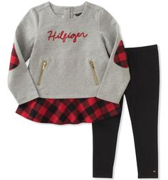 Tommy Hilfiger Toddler Girls' Tunic Legging Set, Silver Heather/Black/Red, 6. Tunic. Leggings.