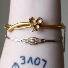 ♛ A wHiMSiCaL RomAnCe ♛ — diamond set bracelets circa 1900 and 1915 |... Needful Things, Bangles, Bracelets, Jewlery, Whimsical, Corner, Romance, Diamond, Clothing