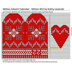Jumper Knitting Pattern, Knitting Patterns, Mittens, Advent Calendar, Xmas, Christmas, Kids Rugs, Charts, Red