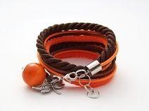 Podwójna bransoletka brązowo-pomarańczowa