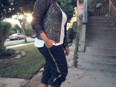 DIY: Metallic Trim Tuxedo Pants | Miss Kris ~ glam up boring sweatpants (yup, these are SWEATPANTS!)