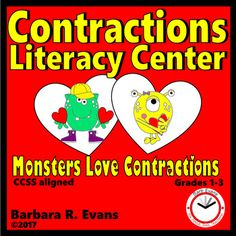 CONTRACTIONS: Monsters Love Contractions Literacy Center -- students match up to 18 personal pronoun contractions with their component parts. Literacy Centers, Classroom Activities, Kindergarten Literacy, Grammar Activities, Early Literacy, Reading Resources, Reading Strategies, Reading Comprehension, Teaching Tools
