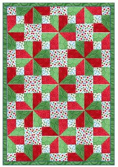 3 - Quilt using Accidental Block A from a Nine Patch block that has been quartered and then cut diagonally through the corners - from Denise McKay / Beyond Sock Monkeys blog