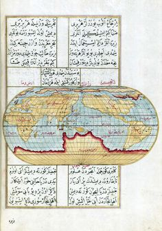Kitab-i Bahriye (Book of the Sea) by Ottoman admiral and cartographer Piri Reis. Map of the western world.