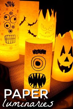 By day they are colorful shelf or window decorations, but by night they are spooky paper Halloween luminaries! Easy to make and fun to look at! #halloween #luminaries #paperluminaries #halloweencrafts #halloweenkidscrafts #kidscrafts #diyluminaries #craftsbyamanda Halloween Food Crafts, Paper Halloween, Halloween Sewing, Diy Halloween Costumes, Diy Halloween Decorations, Holidays Halloween, Fall Crafts, Halloween Party, Crafts For Kids