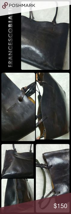 Francesco Biasia Leather Tote Bag Francesco Biasia Italy Designer Bag in Luxurious Deep Rich Brown Camel Leather! A Rare Find Limited Edition in Vintage Collection! Perfect Tote to Carry Books or Tablets!  Top Velcro Closure Opens to 2 Separate Compartments with One Zippered Middle Compartment! A Great Luxury Piece to Last a Lifetime! Used with Signs of Wear on Exterior Edges Francesco Biasia Bags Totes
