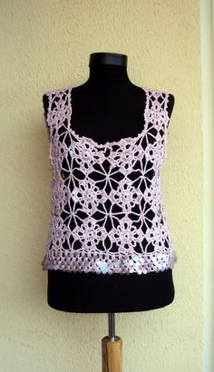 Hand Crochet Lilac Cotton Top with Sequins Spring Summer Fall Winter Women's Clothing Bridal Top Wedding Top LaceTop Gift Ideas by sebsurer