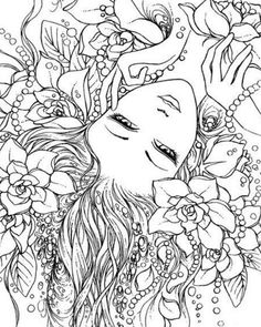 Fairy Coloring Pages, Printable Adult Coloring Pages, Coloring Pages To Print, Coloring Books, Arte Elemental, Coloring Pages Inspirational, Mandala Coloring, Sketches, Drawings