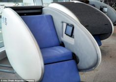 vShut-eye shut in:  The chair converts into a private flat bed and only costs £8 an hour for those in need of a nap