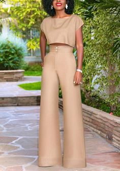 7dbf0bfd5e1 Khaki Buttons Two Piece High Waisted Worker Suit Elegant Wide Leg Long  Jumpsuit. Blazer DressPants OutfitLong JumpsuitsWhite ...