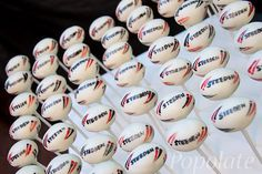 Rugby ball cake pops