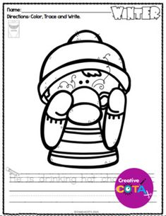 Winter Writing Coloring with Trace and Write Sentence