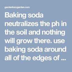 Baking soda neutralizes the ph in the soil and nothing will grow there. use baking soda around all of the edges of flower beds to keep the grass and weeds from growing into beds. Just sprinkle it onto the soil so that it covers it lightly. Do this twice a year - spring and fall. Awesome! - gardenfuzzgarden