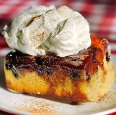 Blueberry Apple Upside Down Cake - blueberries are in season so the time is right to try this delicious comfort food dessert.