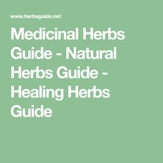 Medicinal Herbs Guide - Natural Herbs Guide - Healing Herbs Guide