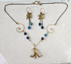 Jewelry set with octopus necklace and starfish earrings, blue aqua terra jasper gemstones - PetiteFraise Handmade Jewelry #summer #seaside #beach #sea #creatures