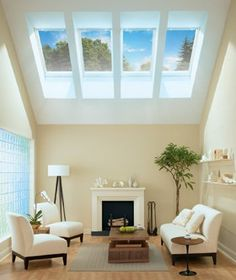 Velux skylight.  Would love this in our vaulted living room. We definitely need this much light.
