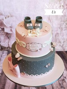 Christening cake by Gabriela Doroghy – Taufe - Baby Shower Baby Girl Christening Cake, Baby Girl Cakes, Baby Birthday Cakes, Girl Baby Shower Cakes, Gateau Baby Shower, Butterfly Cakes, Birthday Cake Decorating, Fancy Cakes, Cupcake Cakes