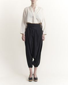 Electric Feathers - Silk Ali Baba Pants with Half Moon Belt in Black