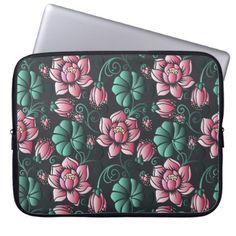 Pink Lotus Motif Elegant Floral Pattern Laptop Sleeve   Customize Create  Your Own #personalize Diy