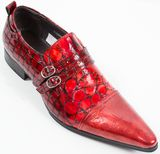 Encore By Fiesso Red Patent Double Monk Strap FI3203 (8,12)
