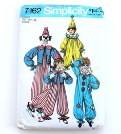Vintage Clown Costume Pattern Adult Large Simplicity by lisacook (Craft Supplies & Tools, Patterns & Tutorials, Sewing & Needlecraft, Sewing, sewing pattern, vintage pattern, adult large size, Simplicity 7162, Halloween, clown outfit, men's clown pattern, circus, Simplicity 9051, clown costume, RDT epsteam, ruffle collar hat)