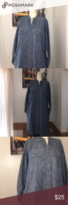 Gap Designer & Crafted Denim girlfriend shirtdress Gap Designer & Crafted Denim girlfriend shirtdress  product details  Premium 1969 denim.  Light indigo wash.  Long sleeves with button cuffs.  Spread collar, button front.  Patch pockets at chest 2 inside pockets on dress  Curved shirttail is longer at back.  #838564  fabric & care100% Cotton.  Machine wash.  Imported.  Fit & Sizing  Straight silhouette with a relaxed, easy fit.  Hits just above the knee. GAP Dresses Maxi