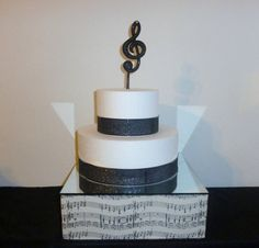 "12"" Square Taupe Black Music Note Wedding Cake Stand Champagne Beige Pop Cupcake…"