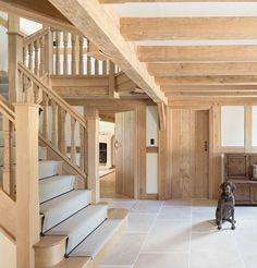 Border Oak – oak stairs, oak doors - Decoration For Home Barn Conversion Kitchen, Barn Conversion Interiors, Log Cabin Kitchens, Border Oak, Mountain Home Exterior, Oak Framed Buildings, Oak Frame House, Oak Stairs, Rustic Home Design