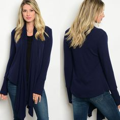 Navy jersey knit cardy. Very nicely made!! Absolute customer favs!!     Longer in front. Closet staple.     Small fits 4/6.   Medium fits 8/10.   Large fits 12/14.         FREE US Shipping!!💠 | Shop this product here: http://spreesy.com/theglamshackboutique/833 | Shop all of our products at http://spreesy.com/theglamshackboutique    | Pinterest selling powered by Spreesy.com