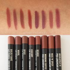 "heeroine | hair & makeup on Instagram: ""I'm obsessed with any matte shade of lipstick that has a brown or mauve tint to it, but those shades are usually more common in lipliners which is why these MAC liners are my current obsession. From left to right: Boldly Bare, Whirl, Spice, Chicory, Beurre, Morning Coffee, Nice 'N' Spicy, Absolutely It."