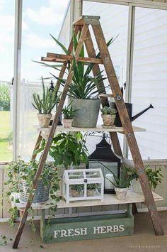 42 ideas diy wood ladder shelf porches for 2019 Old Wood Ladder, Antique Ladder, Vintage Ladder, Diy Ladder, Garden Ladder, Wooden Ladder Decor, Wooden Ladders, Plant Ladder, Ladder Shelves