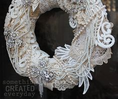 MOTHER's Day Wreath = vintage Crochet, lace, pearls & rhinestones