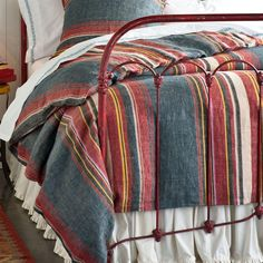 """SAN ANTONIO STRIPED DUVET COVER--Colors of the Southwest line up in linen bedding that becomes ever more soft with use. Imported. Exclusive. Full/Queen, 88""""W x 88""""L"""