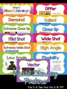 Use these Visual Literacy Posters to teach students about the different techniques used in Visual Literacy.  There are 13 posters;  1) What is Visual Literacy? 2) Offer 3) Demand 4) Salient 5) Extreme Close Up 6) Close Up 7) Mid Shot 8) Wide Shot 9) Extreme Wide Shot 10) High Angle 11) Low Angle 12) Modality 13) Vector