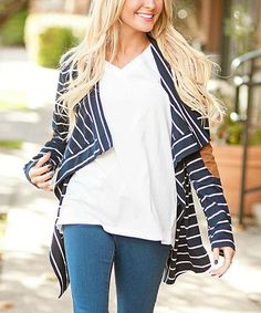 Loving this Navy Stripe Elbow-Patch Open Cardigan $29.99