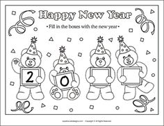 New Year Printable Coloring Pages Coloring Pages Pinterest