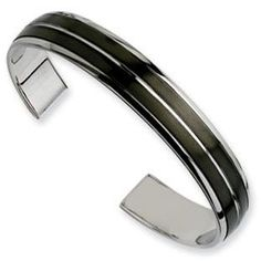 Men's Black Plated Stainless Steel Cuff Bangle Bracelet Jewelry Available Exclusively at Gemologica.com - best place to buy mens jewelry, cheap mens jewelry online, unique mens jewelry designs