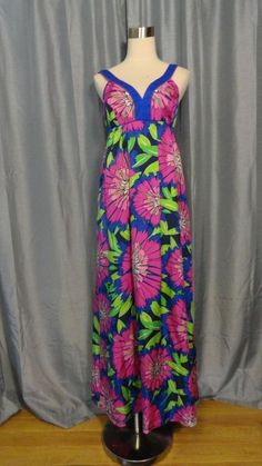 LILLY PULITZER Multi-Colored Floral Print Silk Sleeveless Long Maxi Dress Size 6 #LillyPulitzer #Maxi