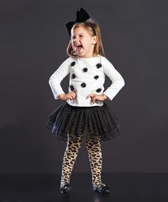 Loving this White Puff Tee & Skirted Leopard Tights - Infant, Toddler & Girls on #zulily! #zulilyfinds