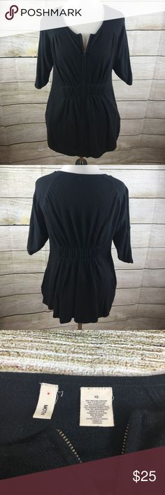 Anthropologie Moth Zip Up Sweater Excellent condition. Size extra small. All black. Zips up in front. Moth from Anthropologie. Has pockets. 26.5 inches long, bust- 36 inches. Sleeves are slit on the top. Anthropologie Sweaters