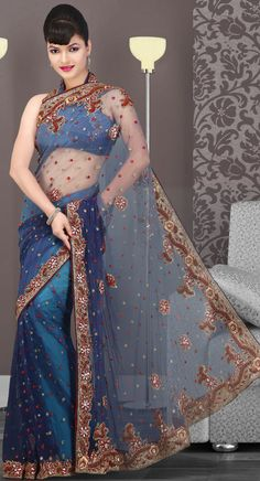 US$ 233.92 Navy Blue Embroidered Net Saree with Blouse | Get It Here: http://www.sareegalaxy.com/pages/itemlarge.aspx?itemcode=SVD3I14071