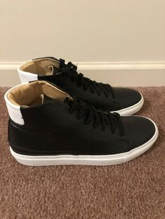 competitive price 59107 fb2d2 New Men s Barneys New York Black Leather High Top Sneakers Size 9