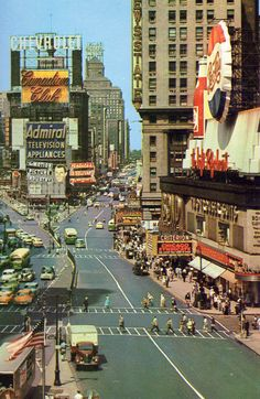 Times Square 1950's Postcard by Drive-In Mike on Flickr.  Tumblr