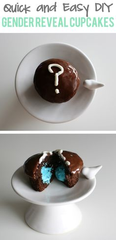 Fast and easy recipe for gender reveal cupcakes to announce a baby boy or baby girl