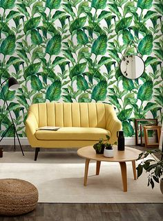 Banana Leaves White Wallpaper by WYNIL. Tropical, Hawaiian, Mexican, Caribbean inspo for this dreamy wallpaper! Perfect for a bedroom or living room. even in your office to feel like on vacation year-round! Commercial Wallpaper, Prepasted Wallpaper, White Wallpaper, Indoor Air Quality, Cool Walls, Decoration, Decorative Items, Wall Decor, Living Room
