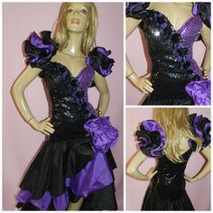 Vintage 80s AVANT GARDE Black/Purple SEQUINNED Origami Ruffled Prom Party dress  14UK 10US Extreme Asymetrical by HoneychildLoves on Etsy